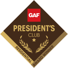 GAF President's Club Roofing Company - GoldenGroup Roofing Central MA Most Loved roofing company